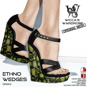 Wicca's Wardrobe - Ethno Wedges (Green) Vendor